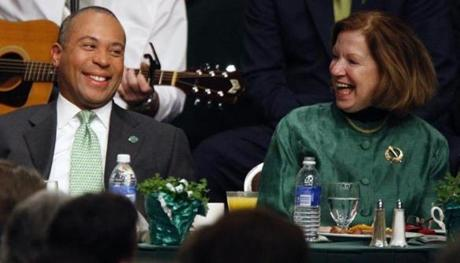 Governor Patrick shared a laugh with Mass. Senate President Therese Murray during the 2009 St. Patrick's Day breakfast.